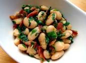 Arugula Bacon And Butter Bean Side Dish For Pork
